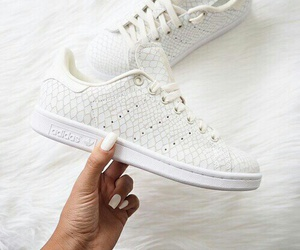 adidas, white sneakers, and nails image