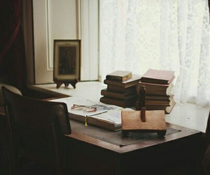 books, desk, and old image