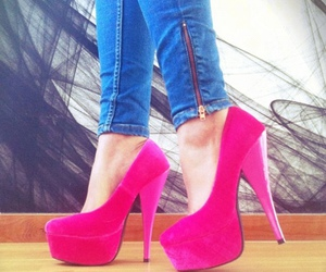 heels, pink, and fashion image