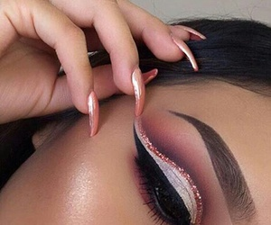 eyebrows, cut crease, and glam image