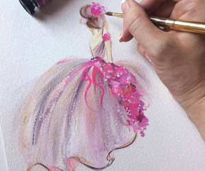 pink, dress, and painting image