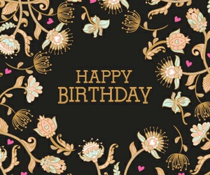 birthday card, black, and floral image
