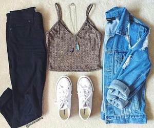 converse, crop top, and ootd image