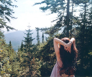 girl, mountains, and forest image