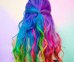 hair, colors, and rainbow image