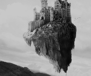 castle, black and white, and magic image
