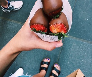 food, sandals, and strawberry image
