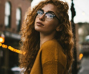 glasses, curly, and girl image