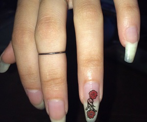nails, rose, and grunge image