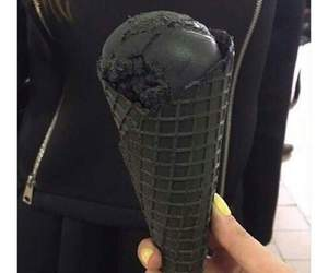 black, dark, and ice cream image