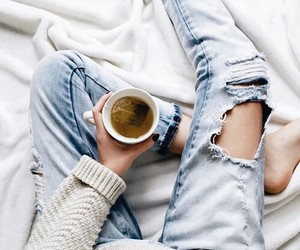 tea, jeans, and coffee image