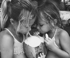 black and white, girls, and coconut image