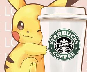 starbucks, pikachu, and pokemon image