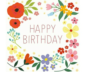 birthday card, colourful, and floral image