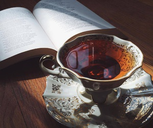 tea, book, and drink image