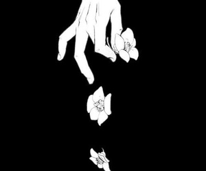 flowers, black and white, and anime image