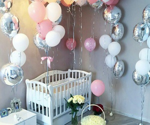 baby, balloons, and bed image