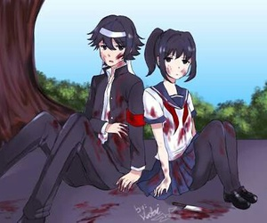 blood, yandere love, and ayano x budo image