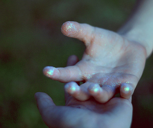 glitter, evening, and hands image