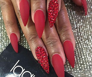 long, red polish, and red gems image