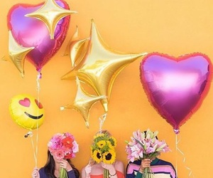 colors, ballons, and flowers image