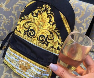 Versace, champagne, and luxury image