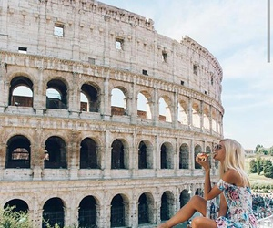 travel, girl, and pizza image