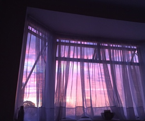 purple, sky, and window image