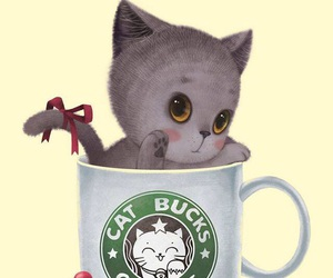 cat and starbucks image