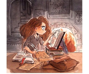 harry potter, hermione, and book image