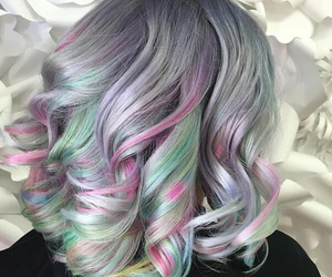 hair, girl, and rainbow image