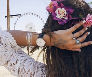 flower crown, white nails, and white lace blouse image