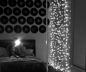 bedroom, lights, and record image