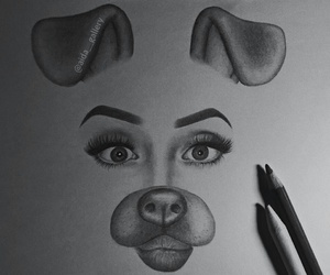 art, snapchat, and doggy filter image