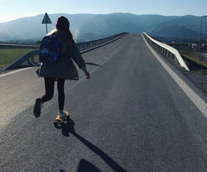 girl, road, and skate image