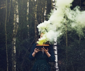 book, smoke, and forest image