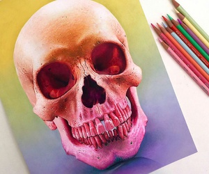 art, colorful, and skull image
