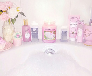 bath, pink, and shower image