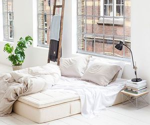 home, white, and bed image