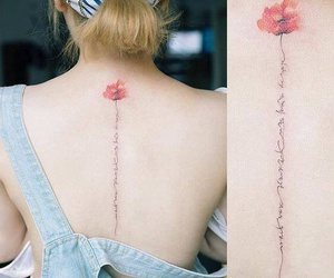 girl, tattoo, and flower image