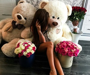 girl, bear, and flowers image