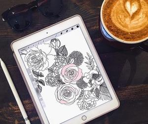 apple, art, and coffee image