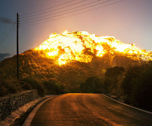 nature, fire, and mountains image
