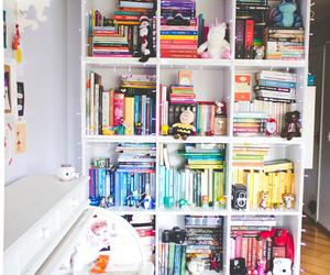 bookcase, books, and pretty image