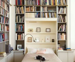 book, bedroom, and decor image