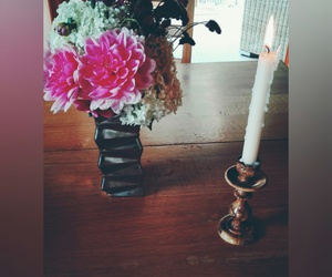 beautiful, bouquet, and candle image