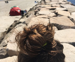 beach, hair, and travel image