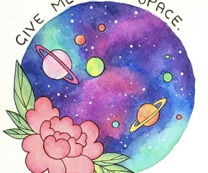 illustration, quote, and space image
