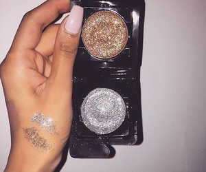 makeup, glitter, and nails image