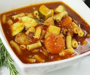 food, macaroni, and soup image